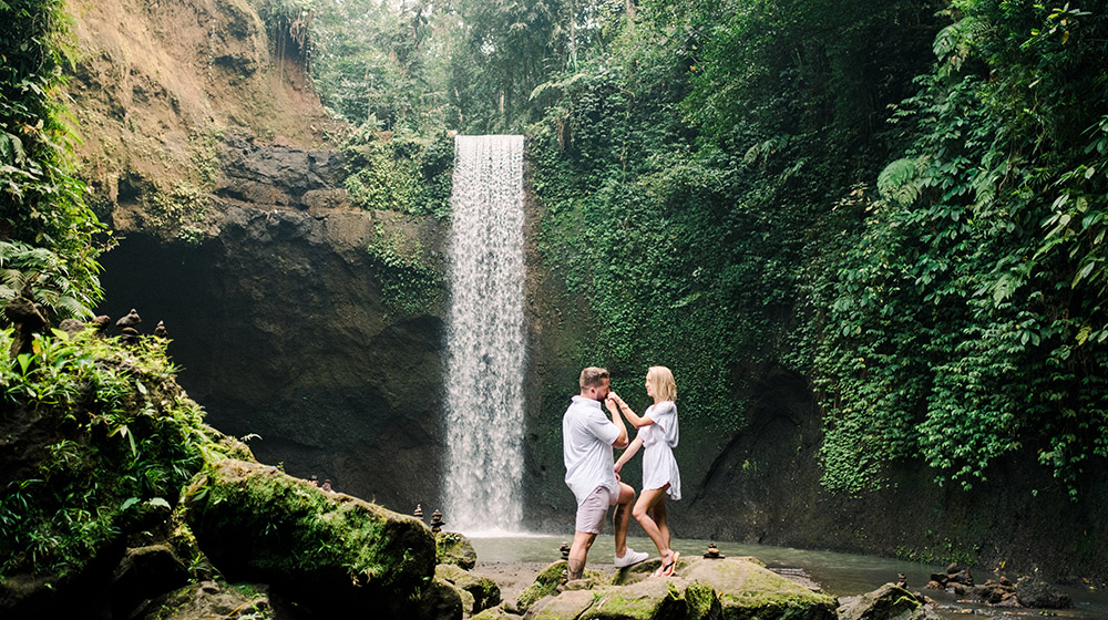 tibumana waterfall bali surprise proposal