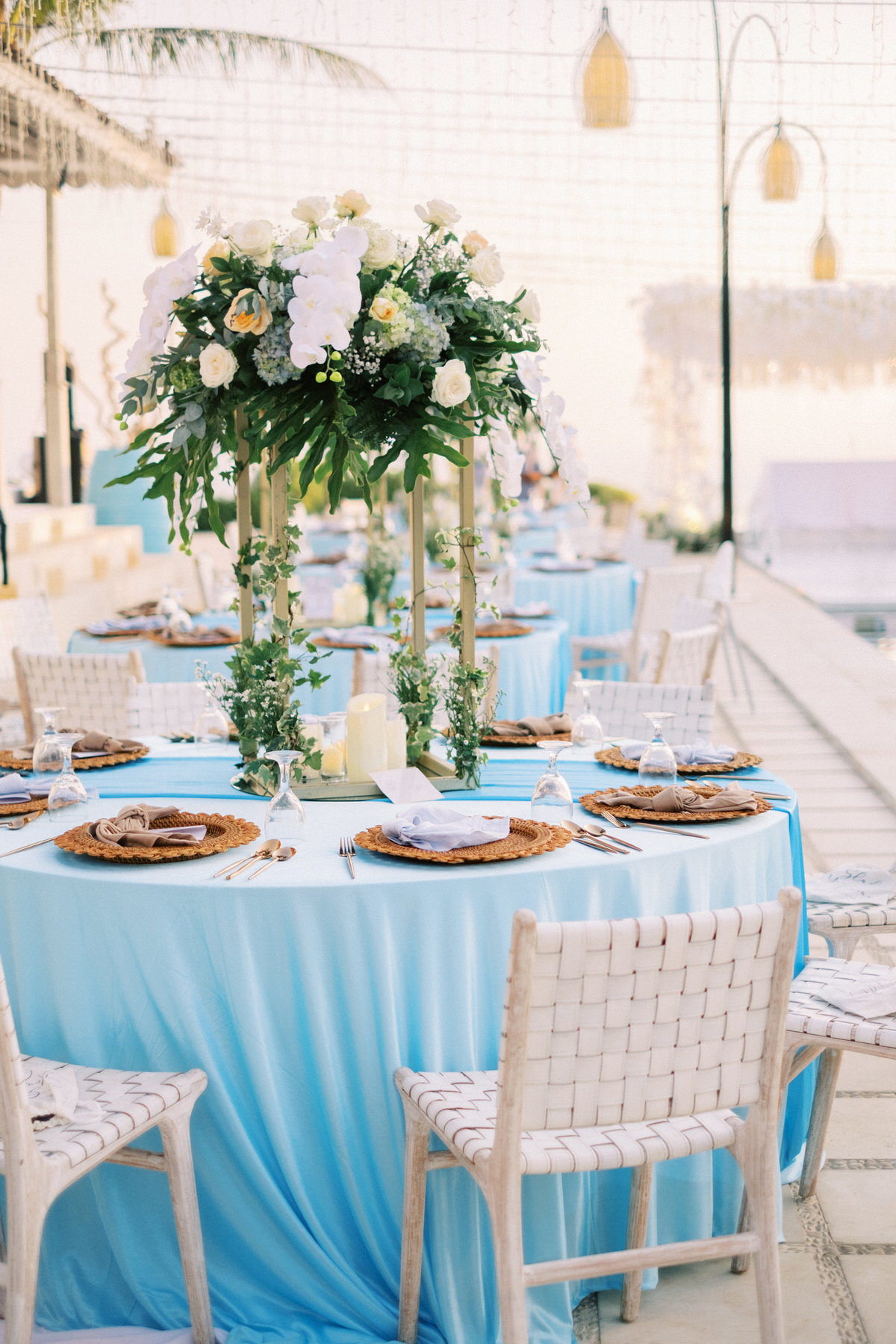 luxurious shades of blue bali wedding decor