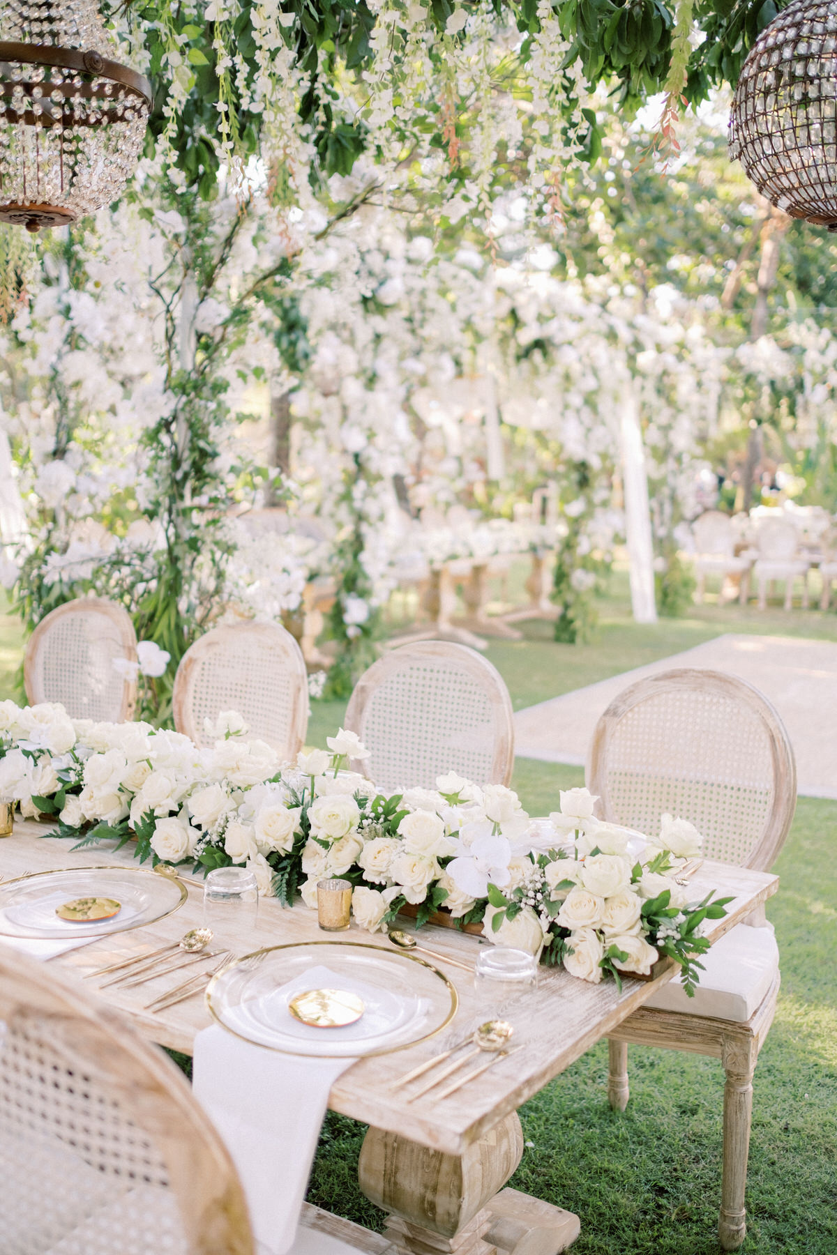sophisticated white and gold bali wedding decor