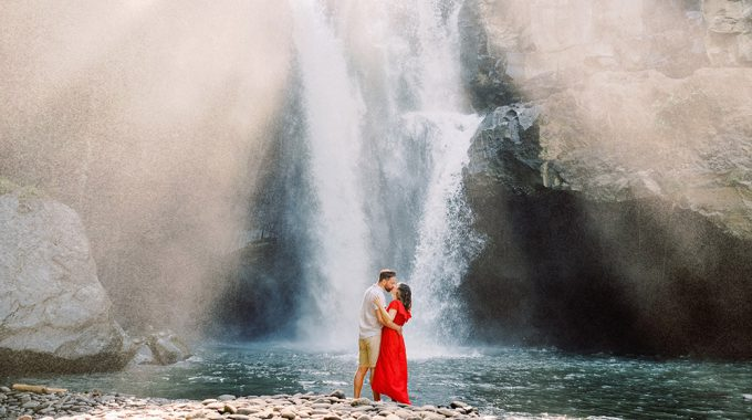 bali waterfall engagement photography