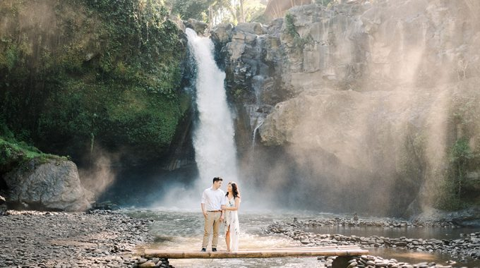 bali waterfall engagement session