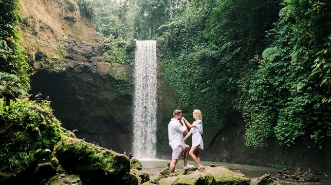 tibumana waterfall bali surprise proposal